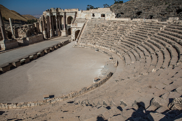hitchhiking Israel solo, Beit She'an Roman theater