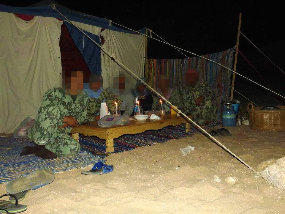 Ras Mohammed camping with the Egyptian army