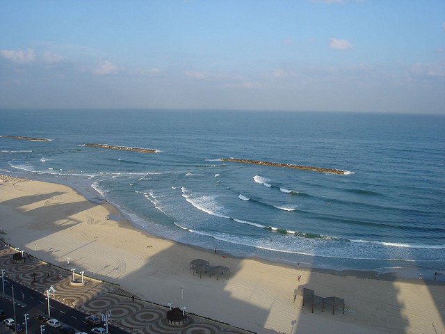 Tel Aviv beach from above