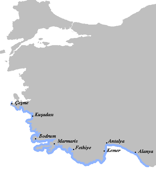 Turkish beach towns map